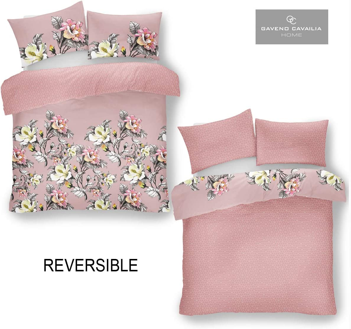 Polyester-Cotton Double Gaveno Cavailia Luxurious Eden Bed Set with Duvet Cover and Pillow Case Pink