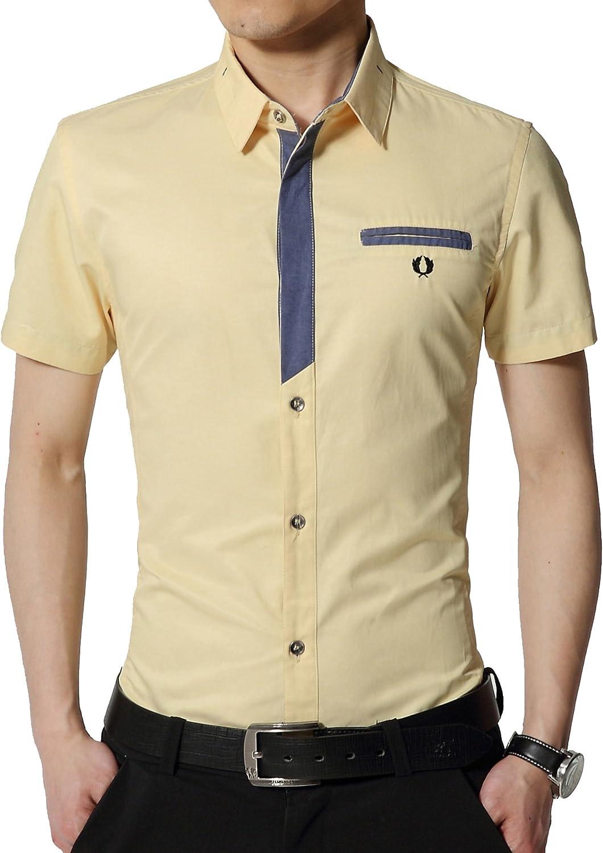 Colorfulworldstore Summer Denim Multicolor Mens Shirt-Men's short-sleeved Shirts