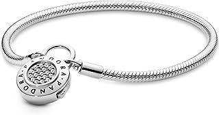 Pandora Women's Snake Chain Silver Bracelet with Clear Cubic Zirconia - 597092CZ-21