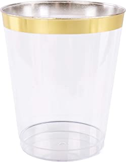Plastic Disposable Cup 14 oz Tumblers (100 Pack) - Clear Drinkware with Gold Rim Perfect for Weddings and Parties
