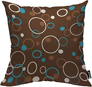 Mugod Circle Pattern Throw Pillow Case Dots Circles and Rings Colored Brown Blue White Decorative Cotton Linen Square Cushion Covers Standard Pillowcase Couch Sofa Bed Men/Women 18x18 Inch