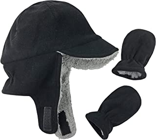 Little Boys and Baby Sherpa Lined Fleece Flap Hat Mitten...