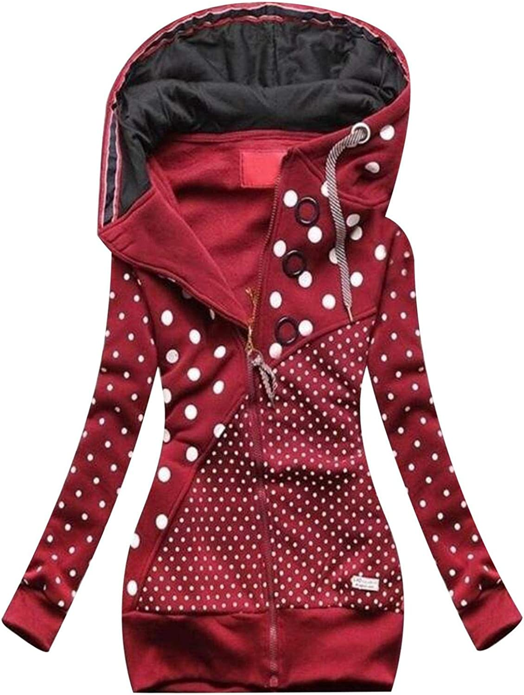 Damenmode Drucken Kapuzenjacke Reißverschluss Tasche Sweatshirt Outwear Schlanker Langer Mantel Wein-8
