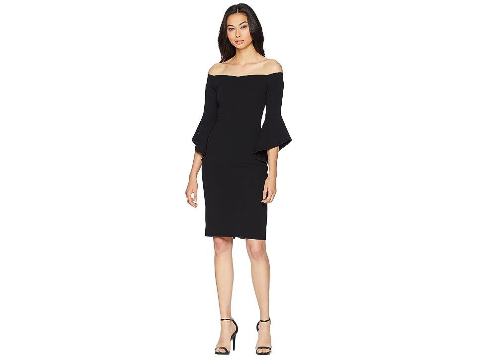 Bebe Off the Shoulder w/ Flowy Sleeve Dress (Black) Women