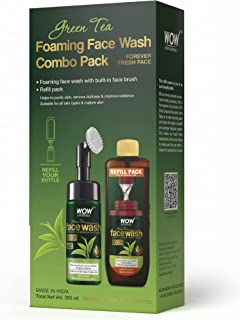 WOW Skin Science Green Tea Foaming Face Wash Combo Pack- Consist of Foaming Face Wash with Built-In Brush & Refill Pack - ...