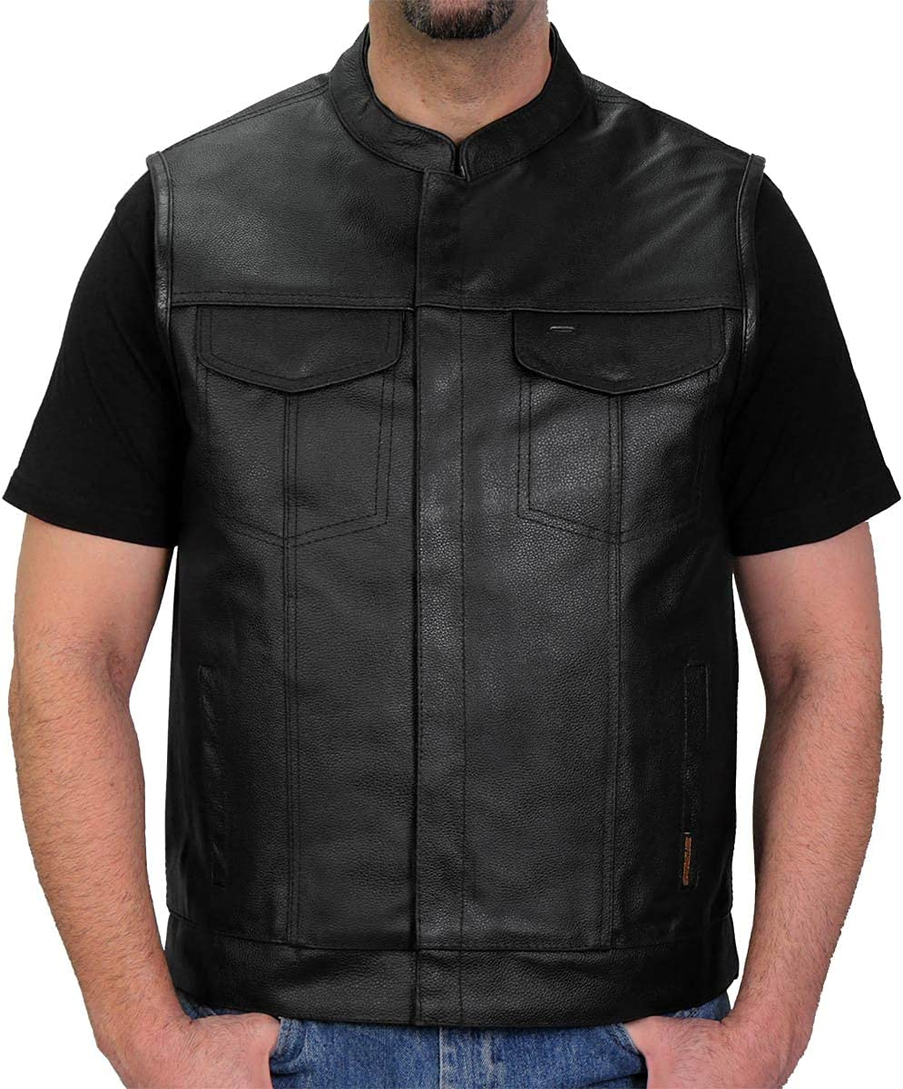 Hot Leathers VSM1039 Men's Black 'Conceal and Carry' Club Leather Vest - 5X-Large