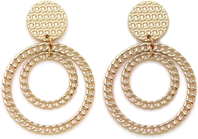 Women Oversize Geometric, Cuban Link, Oval Shape Statement Metal Clip on Earring Many Styles