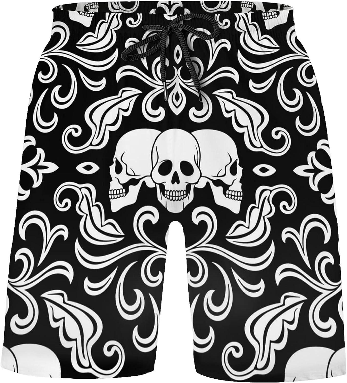 Damask Skull On Black Boys Quick Dry Beach Board Shorts Kids Swim Trunk Beach Swimsu