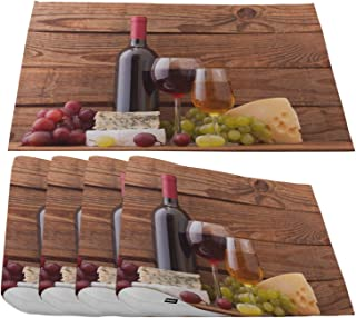 Moslion Wine and Cheese Placemats,Red Wine Cabernet Bottle and Glass Cheese and Grapes On Wood Planks Place Mats for Dining Table/Kitchen Table,Waterproof Washable Outdoor Dinner Table Mats,Set of 4