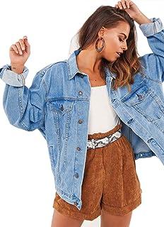 جاكيت جينز كبير الحجم للنساء كم طويل كلاسيكي فضفاض جينز سائقي الشاحنات جاكيت
