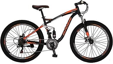 """OBK E7 Mountain Bike 21 Speed Bicycle 27.5"""" Full Suspension Mens Bikes Daul Disc Brakes MTB (Orange)"""