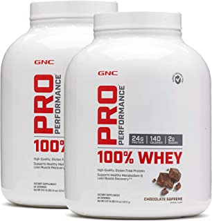 GNC Pro Peformance 100% Whey Protein Powder - Chocolate Supreme, Twin Pack, 64 Servings per Bottle, Supports Lean Muscle Recovery