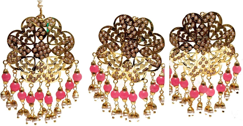 Gold Jadau Bridal Pink Pearl Punjabi Muslim Stud Earrings Tikka Wedding jewelry Set