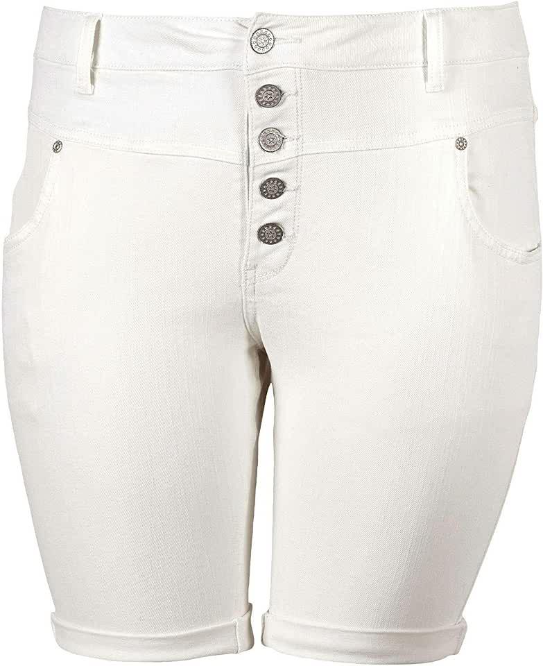 ellos Women's Plus Size Button-Front Denim Shorts - 24, White