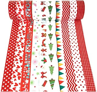 """XYBAGS Christmas Decorative Washi Tape,Set of 10 Rolls, Assortment of Christmas Holiday Designs & Shapes, Paper, Style C, 0.6"""" x 16.4ft"""