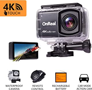 Matego 4K 16MP Anti Shake Action Camera Touch Screen WiFi Sports Cam with Wrist Remote Waterproof 98FT Underwater Cameras 170° Adjustable View Angle Outdoor Camcorder, Mounting Accessories,Battery