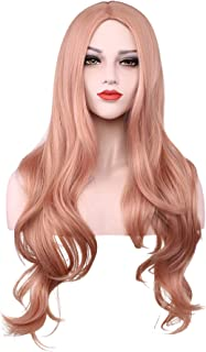 Long Pink Wigs Women Curls Wavy Cosplay Wig Natural Synthetic Hair Wig For Girls Ladies With Wig Cap 26
