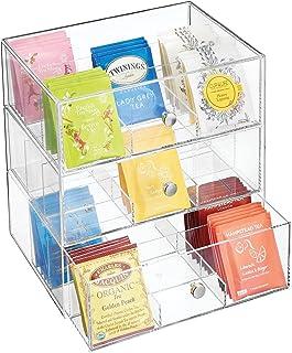 mDesign boite de rangement cuisine en plastique avec 3 tiroirs – casier de rangement pour sachets de thé, tisane, infusio...