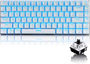LexonElec Wired Gaming Keyboard Ajazz AK33 Blue LED Backlit 82 Keys USB Mechanical Pro Gamer Keypad for Office Typists Playing Games (Black Switch, White)