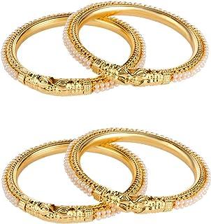 Efulgenz مجوهرات الأزياء الهندي بوليوود 14 ك الذهب مطلي فو بيرل أساور أساور مجموعة للنساء