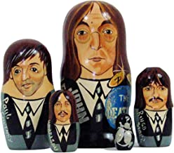 5pcs Hand Painted Russian Nesting Doll of The Beatles Large ( 7 inches Tall)