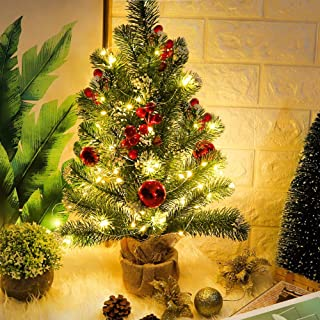 FUNARTY 20 Inch Mini Christmas Tree Tabletop Christmas Tree with 25 Clear Lights for Christmas Decorations Holiday Home Decor