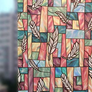 RoyalWallSkins Privacy Stained Glass Window Film Martina, No Glue Static Self Adhesive Clings 17.7