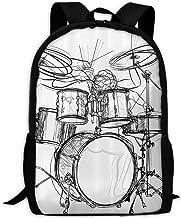 Unisex Casual Graffiti Sketch Style Drummer Music Inspired Monochrome Print Backpack Oxford Bag School Student Bookbags Daypack Laptop White