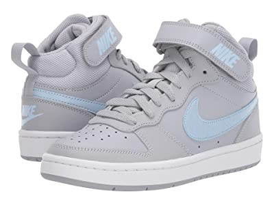 Nike Kids Court Borough Mid 2 EP (Big Kid) (Wolf Grey/Celestine Blue/White) Boys Shoes