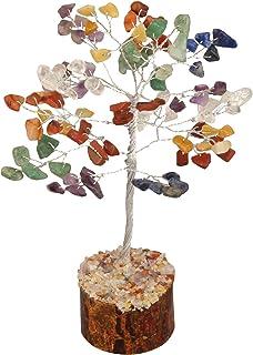 ZAICUS Seven Chakra Gemstone Money Tree Feng Shui Bonsai Crystal Reiki Healing Energy Generator Spiritual Home Office Interior Decor Ideal Gift Silver Wire Size 7-8 Inch Approx