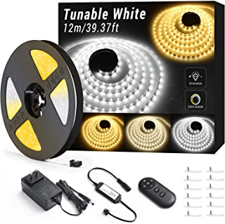 40ft Tunable White LED Strip Light, 1344 LEDs Dimmable 3000K-6500K LED Tape Lights with RF Remote, Flexible LED Rope Light Dailylight Warm White for Bedroom, Kitchen, Mirror, Bar, Cabinet, Ceiling