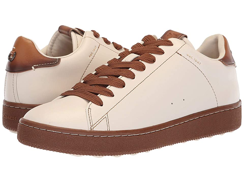 COACH Burnished Leather C101 Low Top Sneaker (Chalk/Dark Saddle) Men