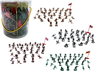 Toy Soldier Army Men Military Action Figure Set ( 4 Colors ) - Assorted -150 Piece Deluxe Pack with Flags and Carry Case- For Boys, Girls, Parties, GI Joe Battles
