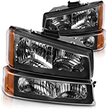 Headlight Assembly for 2003-2007 Chevy Silverado 1500HD/ 2003-2006 Chevy Silverado 2500HD/ 2003-2006 Chevy Avalanche Black Housing with Front Signal Lights (4 PCS, Not for Body Cladding Models)