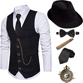 1920s Mens Fedora Hat,Gatsby Gangster Vest,Vintage Pocket Watch,Plastic Cigar,Pre Tied Bow Tie,Tie