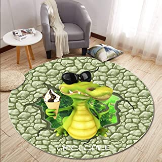 Round Rugs Thin and Light Carpet,for Living Room & Bedroom & Computer Chair & Coffee Table Non-Slip Short Hairs Mats (Size : 160CM),2