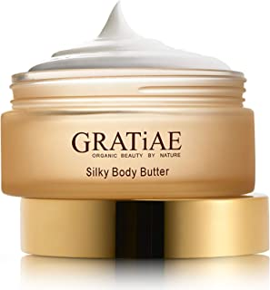 Gratiae organic beauty by nature silky body butter, anti aging skin care shea butter, moisturizer, hydrating stretch mark cream, firming, lightweight, neck & Décolleté, age spots Passion Fruit and Lime 5.95 Fl oz