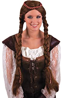 Funny Fashion Medieval Renaissance Princess Braided Wig, Brown, One-Size
