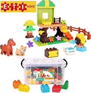 ETI Toys, 65 Piece Bublu Dude Ranch Building Blocks. Build Horse Ranch, Tree House, Flower Garden. 100 Percent Non-Toxic, Fun, Creative Skills Development. Toy Gift for 3, 4, 5 Year Old Boys and Girls