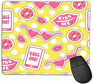 Emonye Mouse Pad Colourful Funny Stickers me Call me Background Cool Patches Big Lips Glasses Donuts Phone Prints Mousepad 25 * 30CM