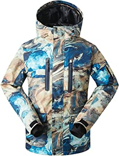 GsouSnow Men's Waterproof Windprooof Winter Outdoor Hooded Ski Jackets Warm Snow Rain Insulated Coat Snowboarding Blue