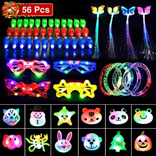 Kimiangel 56 PCS Glow in The Dark Party Supplies, LED Light Up Toys Party Favors for Kids with 30 Finger Lights, 10 Flashing Rings, 4 Flashing Glasses, 4 Bracelets, 4 Pins and 4 Glowing Braid