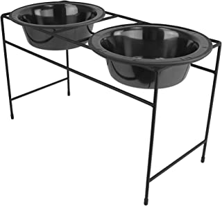 Platinum Pets Modern Double Diner Feeder with Stainless Steel Cat/Dog Bowl