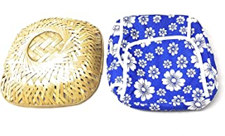 Bridge2shopping Roti Chapati Cane Tokari Basket with Printed Removable Washable Elastic Cotton Cover (Assorted Colours)