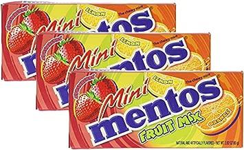 Mentos Mini Fruit Mix - Orange Lemon Strawberry Flavors - Pack of 3 boxes