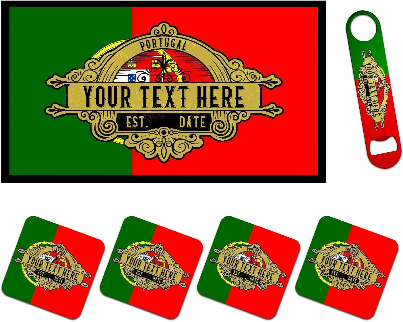 Personalized Portugal Flag Bar Runner Opene Mat Matching Max 49% OFF Bottle Popular overseas