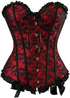 Zhitunemi Womens Floral Black Lace Trim Corset Overbust Waist Cincher Bustier Top