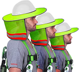 3 Pack - Sun Visor Hard Hat Sun Shield- Fitted with Ventilation Holes, Reflective Strip, Full Brim and Neck Cover Sun Shield Mesh