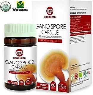 GANOHERB Organic Ganoderma Lucidum Reishi Mushroom Lingzhi Spore Capsules with High Potency Polysaccharide & Triterpenes,(NON-GMO & Gluten Free) Herbal Detox Supplements,60 Vegan Immume Health
