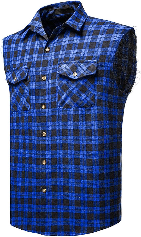 Men's Tank Tops Sleeveless Plaid Vest Shirts Lapel Button Down Flannel Shirt Slim Fit Tee Casual Lightweight Blouse